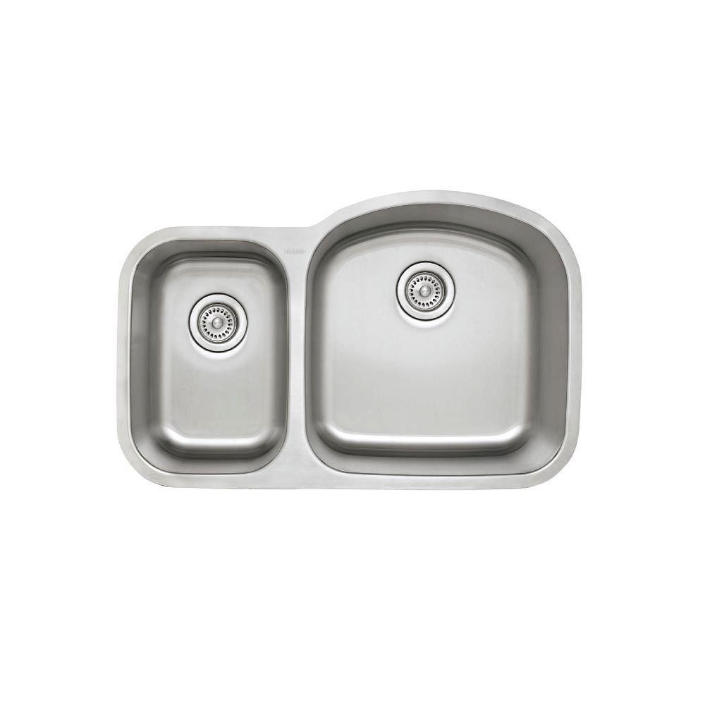 Stellar Undermount Stainless Steel 32 in. 0-Hole 1.6 Reverse Double Bowl