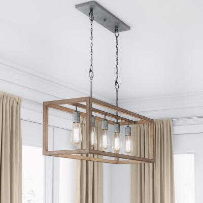 Boswell Quarter 5-Light Galvanized Island Chandelier with Painted Chestnut Wood Accents