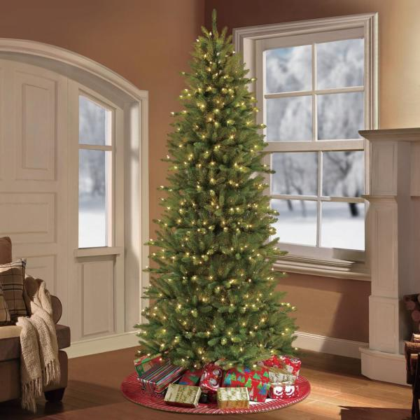 Puleo International 9 Ft Pre Lit Incandescent Slim Fraser Fir Artificial Christmas Tree With 800 Ul Clear Lights 277 Ffsl 90c8 The Home Depot