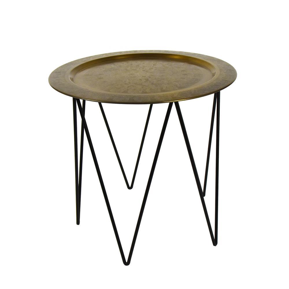 Thorten Black Brass Accent Table