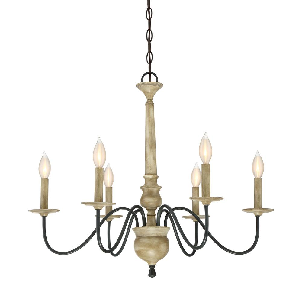 Filament Design 6 Light Distressed Wood Chandelier CLI