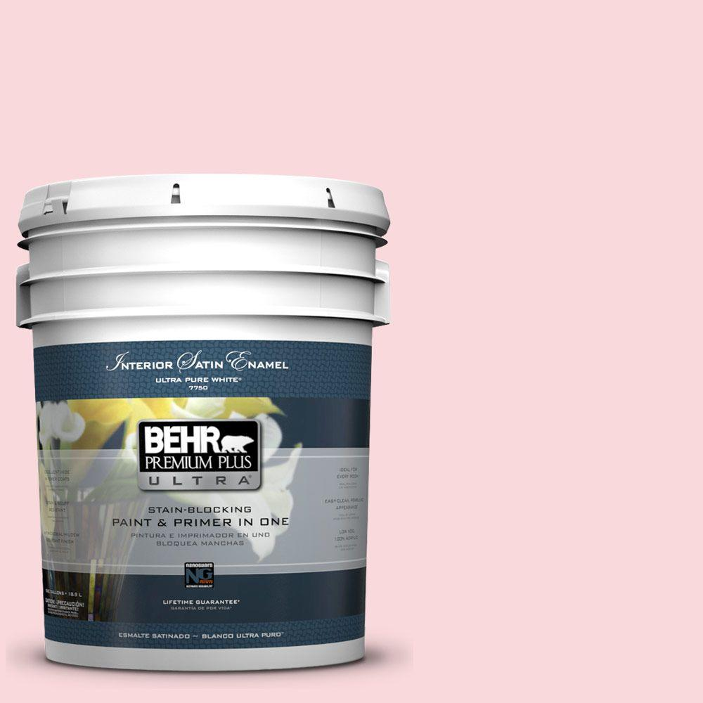 5 gal. #140A-2 Coy Pink Satin Enamel Interior Paint and Primer