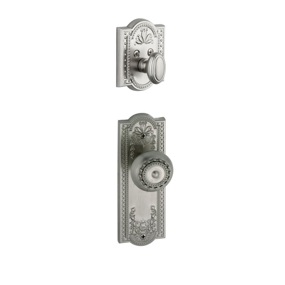 Grandeur Parthenon Single Cylinder Satin Nickel Combo Pack Keyed Differently with Knob and Matching Deadbolt