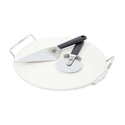 Grilled Pizza Set - 15 in. Pizza Stone with Lifter, Cutter Wheel and Serving Spatula