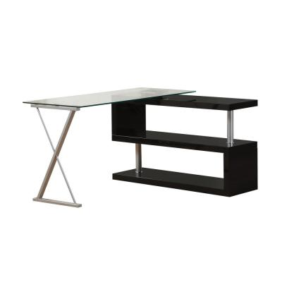 Buck 2-Piece Clear Glass and  Black Office Suite Writing Desk
