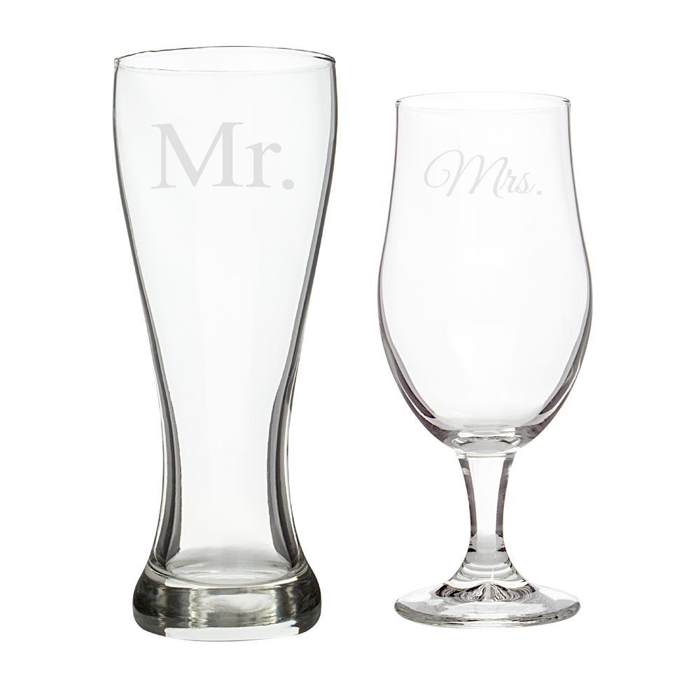 """""""Mr. & Mrs."""" Glass Pilsner Set"""