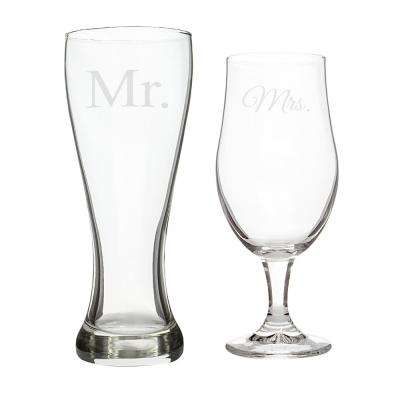 """Mr. & Mrs."" Glass Pilsner Set"