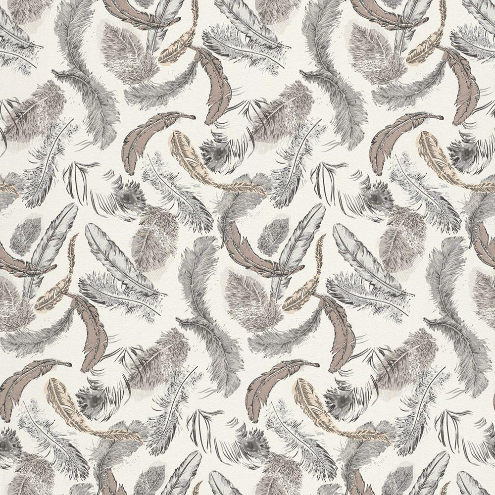 Contemporary Black and Tan Feathers Wallpaper