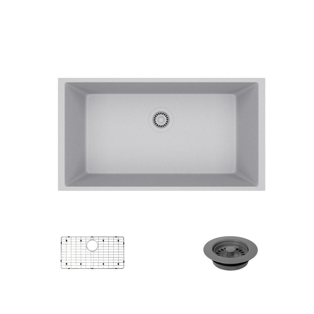 Undermount Composite Granite 32-5/8 in. Single Bowl Kitchen Sink in Pewter