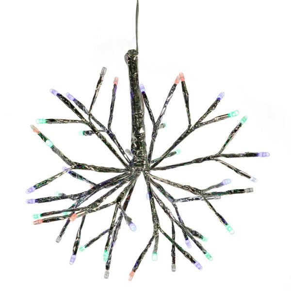 10 in. Tall Christmas Snowflake Ornament with Multi-Color LED Lights, Multi-Colored