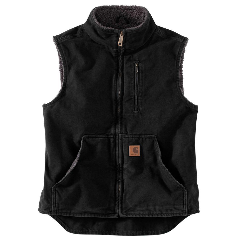 Men's X-Large Black Cotton Mock Neck Vest Sherpa Lined Sandstone