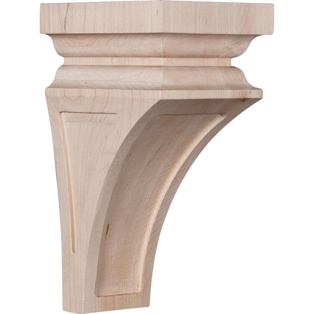 5 in. x 10 in. x 5-3/4 in. Red Oak Medium Nevio Wood Corbel