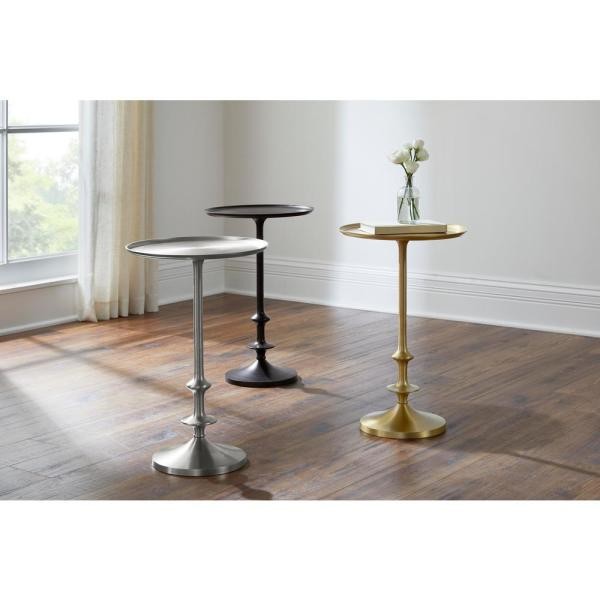 Home Decorators Collection - Bellkirk Round Gold Metal Accent Table (14.5 in. W x 22.25 in. H)