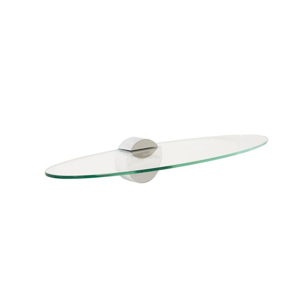 Wallscapes Legacy Oval 23.5 in. W x 7.5 in. D Clear Large Shelf with 1 Moon Titanium Bracket Shelf Kit