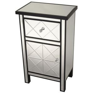 Shelly Assembled 20 in. x 20 in. x 13 in. Black Wood Glass Accent Storage Cabinet