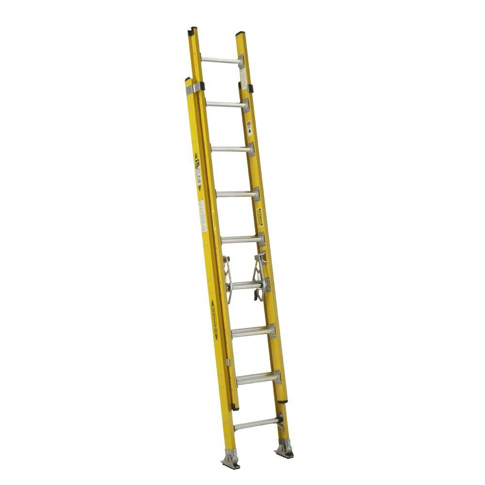 16 ft. Fiberglass D-Rung Extension Ladder with 375 lb. Load Capacity