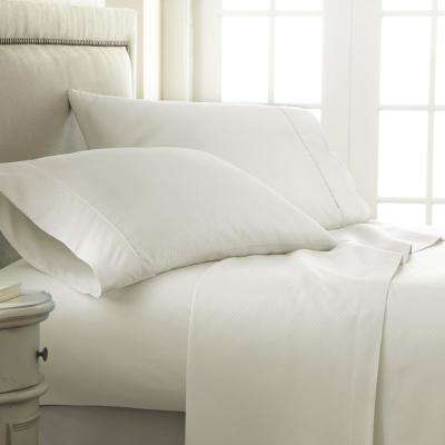 Embossed Checkered Ivory Full Performance 4-Piece Bed Sheet Set