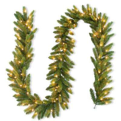 9 ft. FEEL-REAL Jersey Fraser Fir Artificial Garland with 100 Clear Lights