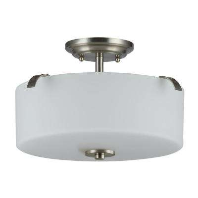 Gomeisa 15 in. 3-Light Brushed Nickel Semi-Flushmount with White Glass Drum Shade