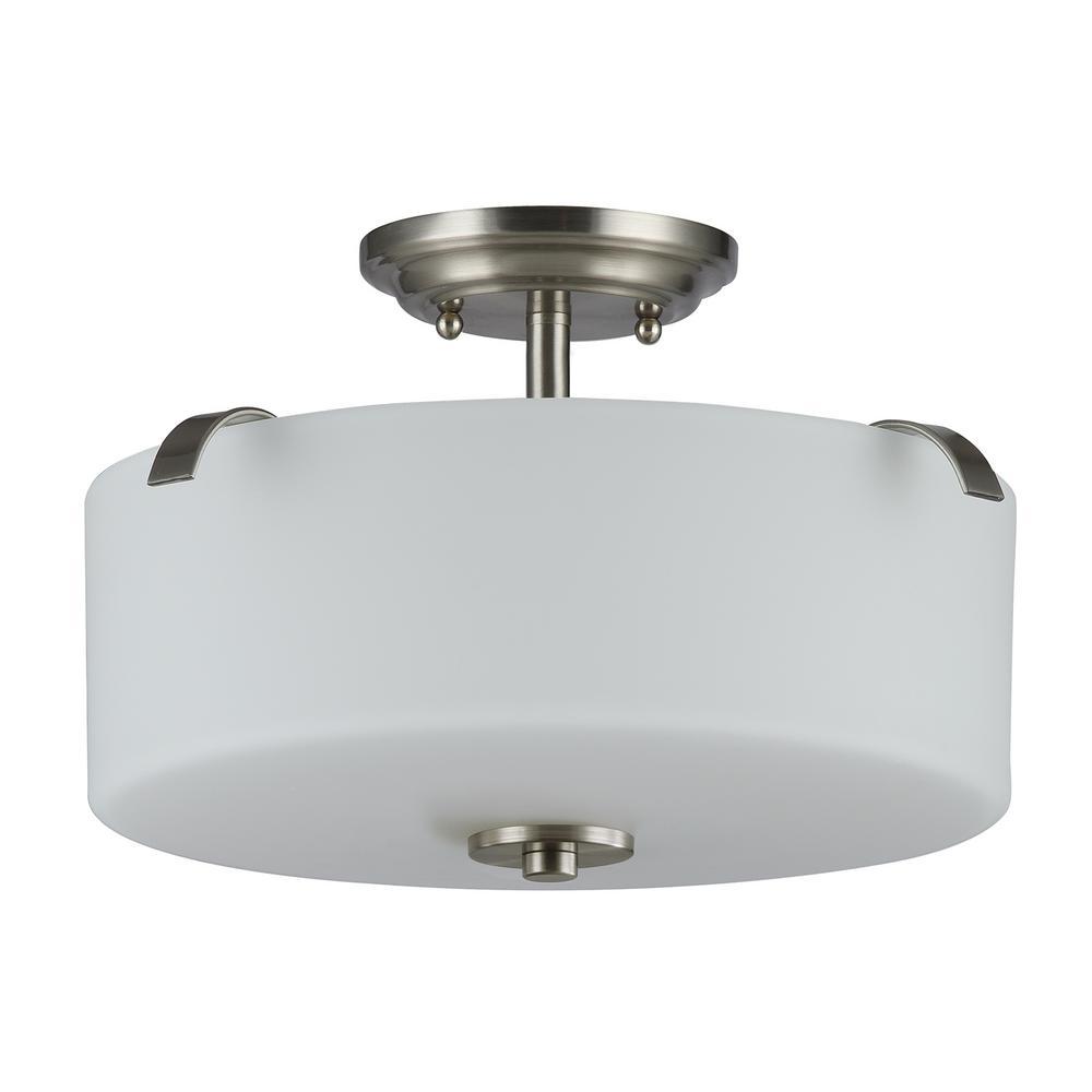 Gomeisa 15 in. 3-Light Brushed Nickel Semi-Flushmount with White Glass Drum Shade