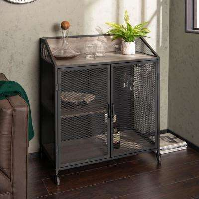 33 in. Grey Wash Industrial Bar Cabinet with Mesh