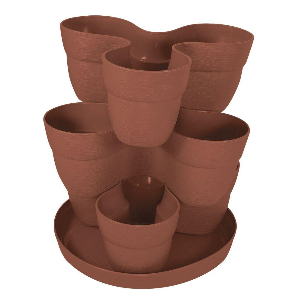Emsco 13 in. 3-Tier Resin Flower and Herb Vertical Gardening Planter in Terra Cotta