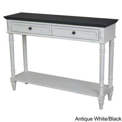 Ashbury Bruges Black Oak Veneer And Antique White One Drawer Console Table