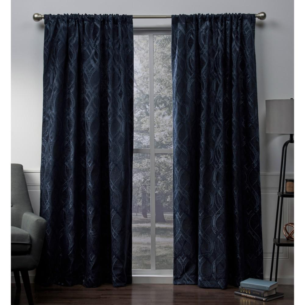 Trend Shake 40 Indigo Home Décor Ideas: Elena Indigo Wave Chenille Rod Pocket Top Window Curtain