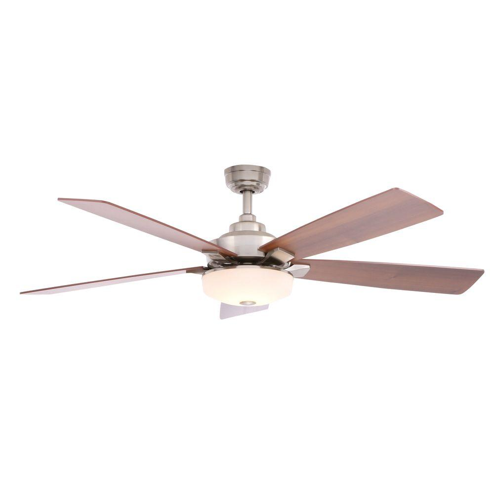 Home Decorators Collection Cameron 54 In Indoor Brushed Nickel Ceiling Fan With Light Kit And