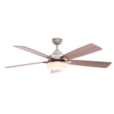 Cameron 54 in. Indoor Brushed Nickel Ceiling Fan with Light Kit and Remote Control