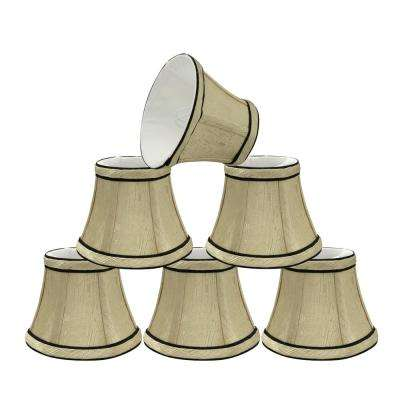 5 in. x 4 in. Ivory and Black Accent Bell Lamp Shade (6-Pack)