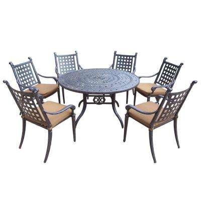Belmont 54 in. 7-Piece Round Patio Dining Set with Sunbrella Cushions