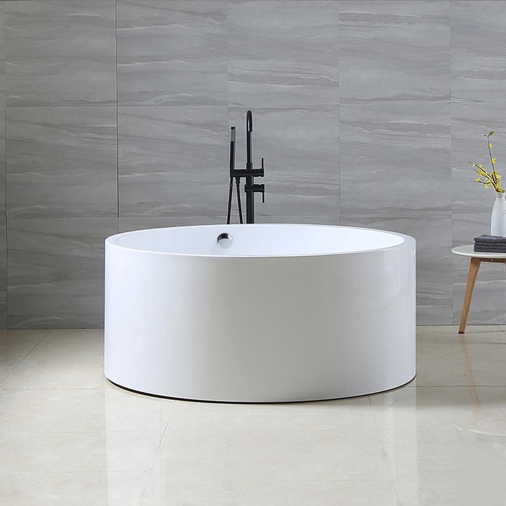 Vanity Art Troyes 59 in. Acrylic Flatbottom Freestanding Bathtub in White