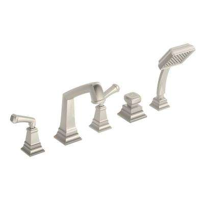 Oxford 2-Handle Deck-Mount Roman Tub Faucet with Handshower in Satin Nickel