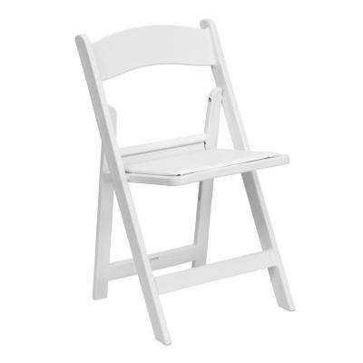 Hercules Series 1000 lb. Capacity White Resin Folding Chair with White Vinyl Padded Seat