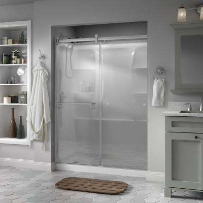 Portman 60 in. x 71 in. Semi-Frameless Contemporary Sliding Shower Door in Nickel with Niebla Glass