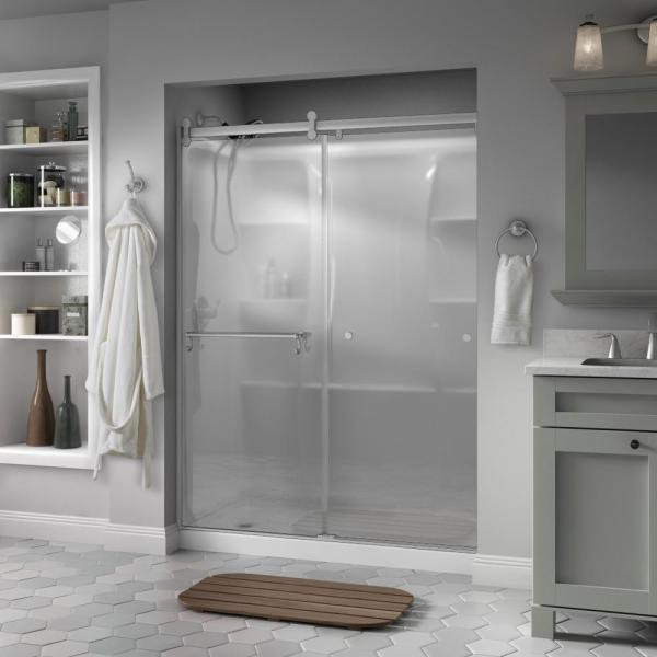 Portman 60 x 71 in. Frameless Contemporary Sliding Shower Door in Nickel with Niebla Glass