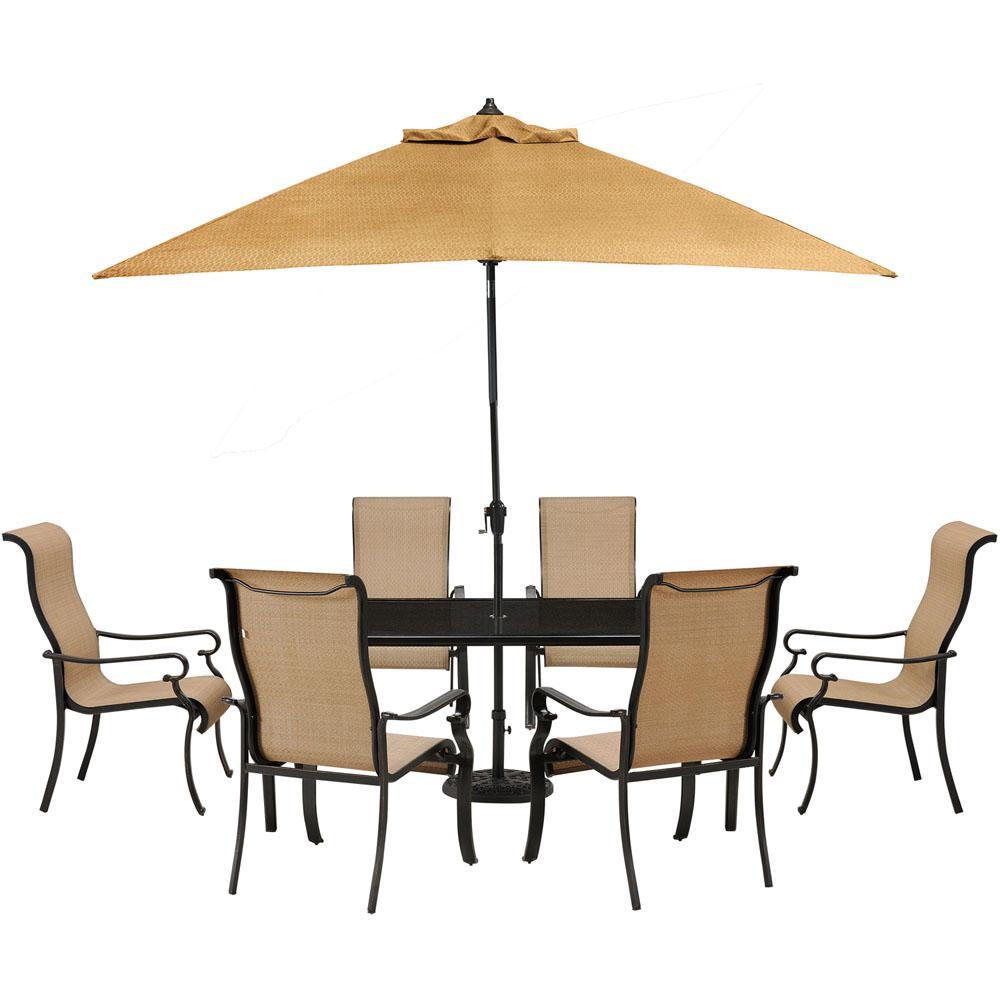 Cambridge Hammond 7 Piece Patio Outdoor Dining Set With Glass Top