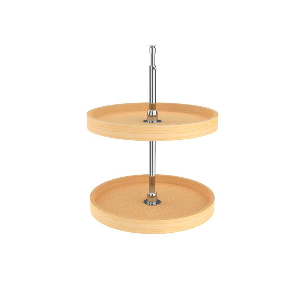 26 in. H x 22 in. W x 22 in. D Wood 2-Shelf Full Circle Lazy Susan Set