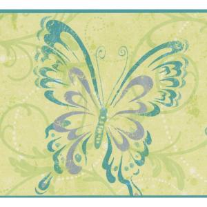 Butterflies In Abstract Style With Damask Green Vine Scrolls Olive Prepasted Wallpaper Border