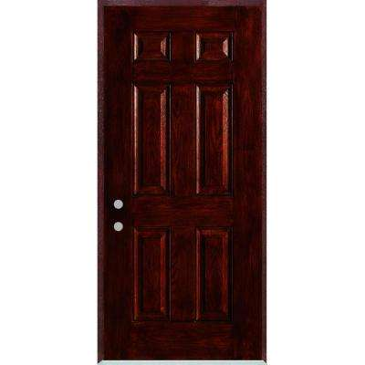32 in. x 80 in. Right-Hand Infinity 6-Panel Stained Fiberglass Woodgrain Prehung Front Door with Brickmould