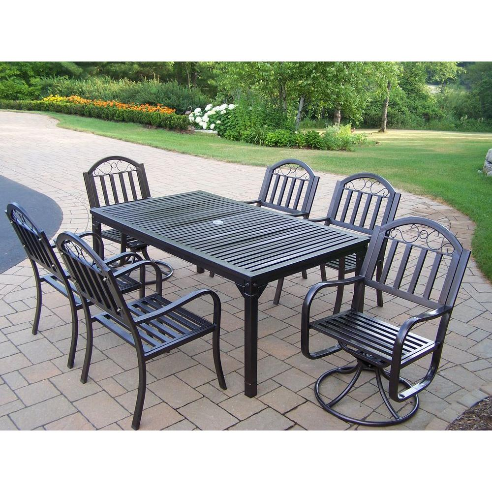 Oakland Living Rochester 7-Piece Patio Dining Set with 2 Swivel Chairs