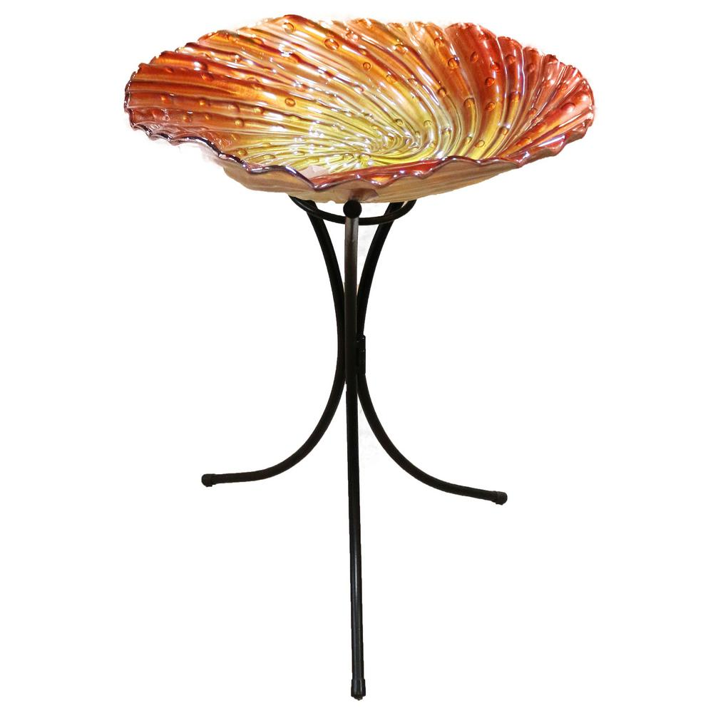 26 in. Orange Birdbath with Metal Stand