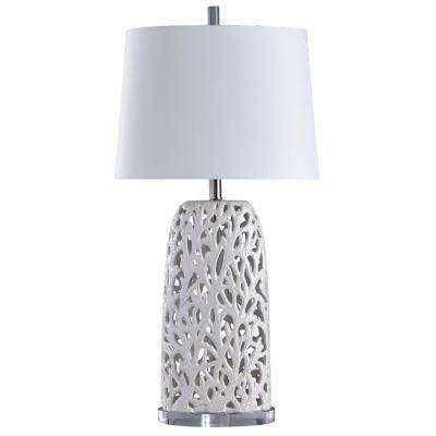 33 in. White Table Lamp with White Styrene Shade