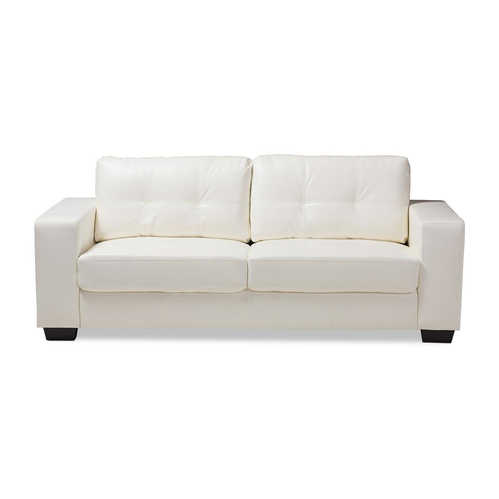 Attractive Baxton Studio Adalynn White Faux Leather Sofa