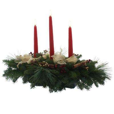 Balsam Fir Cinnamon 3 Candle Stick Fresh Centerpiece : Multiple Ship Weeks Available