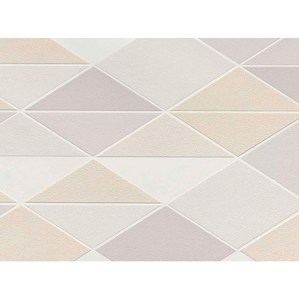 Beige & Lavender Dwinding Diamonds Wallpaper