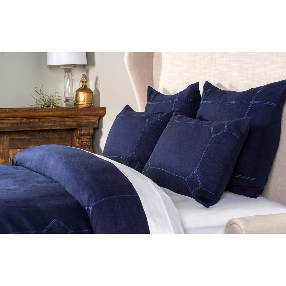 Heirloom Linen Indigo 20 in. x 26 in. Standard Sham
