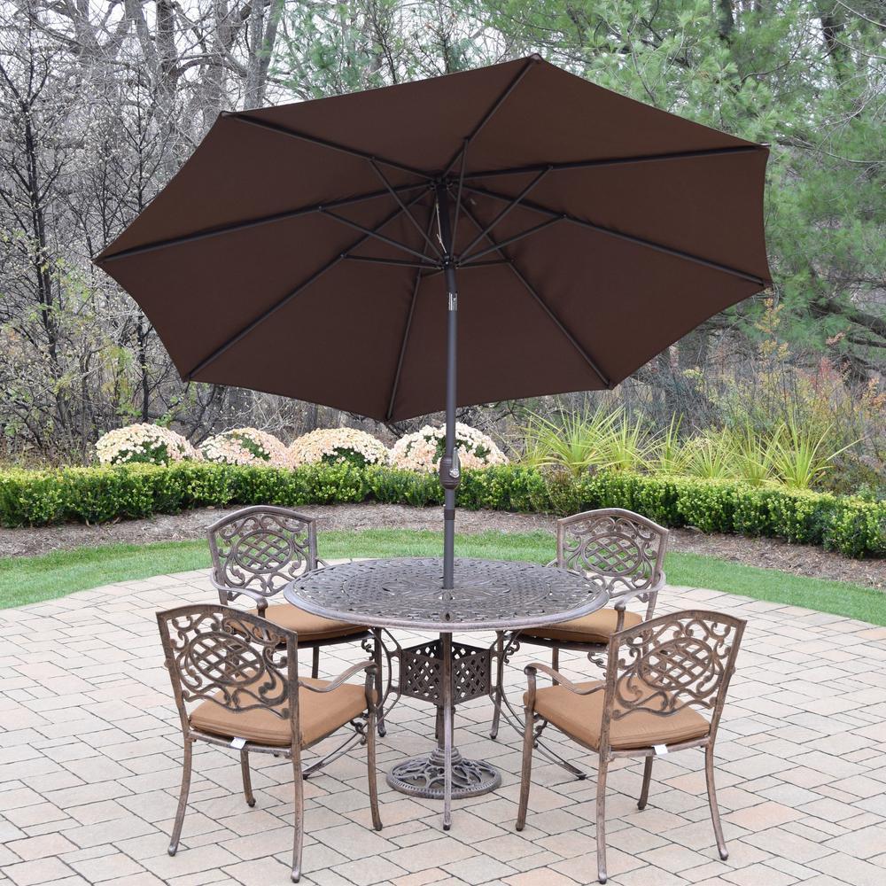 7 Piece Aluminum Outdoor Dining Set With Sunbrella Brown Cushions