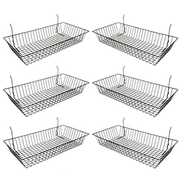 Black Wire Baskets for Grid Wall Slat Wall or Pegboard (Pack of 6)